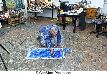 övé, művész, műterem, portré, művek, szobafestő