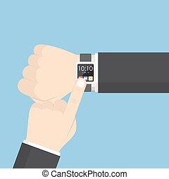 övé, smartwatch, kéz, csukló, használ, üzletember