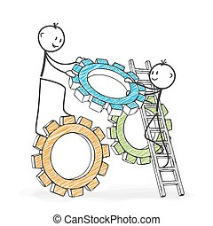 övé, stickman, alak, jelképes, -, ételadag, teamwork., bot, ...