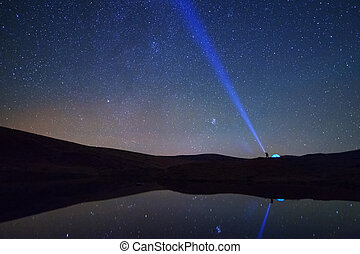 övé, tó, látszó, csillaggal díszít, sátor, ember