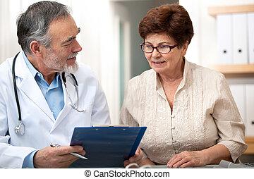 övé, türelmes, orvos, beszéd, női, idősebb ember