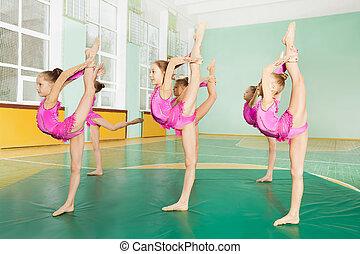 öva, flickor, sports, preteen, gymnastik, sal