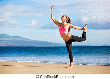öva, kvinna, yoga, solnedgång