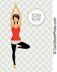 öva, kvinna, yoga, ung