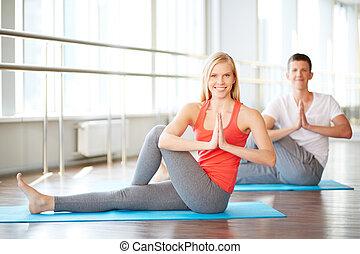 öva, par, yoga