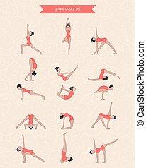 öva, s, kvinna, yoga, design.