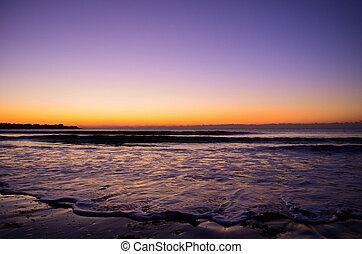över, atlanten, soluppgång, morgon