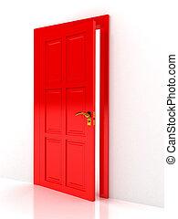 över, dörr, vit fond, röd