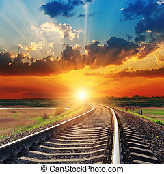 över, dramatisk, solnedgång, järnväg