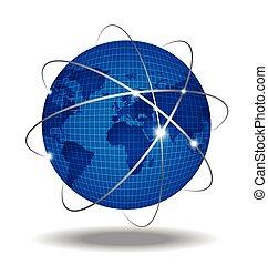 över,  global, nätverk, bakgrund, vit