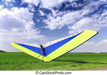 över, hänga, grönt gräs, motorisera, segelflygplan