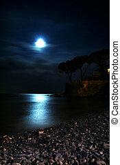 över, hav, måne