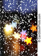 över, highlights., snö, suddig fond, stjärnfall, helgdag, star-shaped
