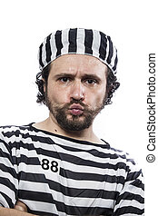 över, illegal, skrud, bakgrund, fängelse, fånge, stående,...