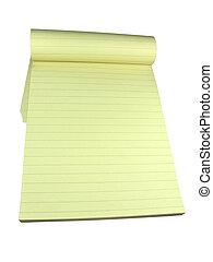 över, isolerat, gul, anteckningsbok, bakgrund, vit, fodra, sidor, tom