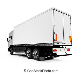 över, lastbil, vit, halv-