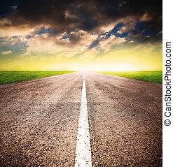 över, solnedgång, asfalt, väg
