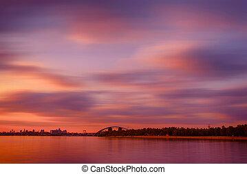 över, solnedgång, dnipro