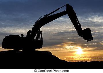 över, solnedgång, grävmaskin, lastare