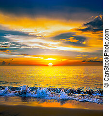 över, solnedgång, hav, färgrik