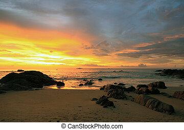 över, solnedgång, hav