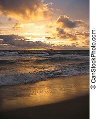 över, solnedgång ocean