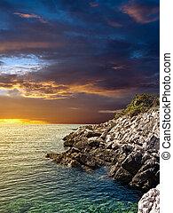 över, solnedgång, sea.