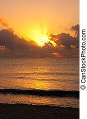 över, soluppgång, ocean