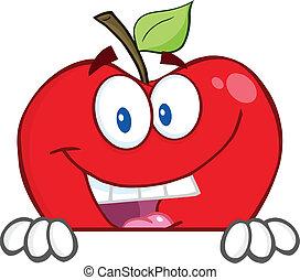 över, tom, äpple, röd, underteckna