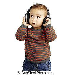 över, uppe, wh, se, musik lyssna, stående, stilig, unge