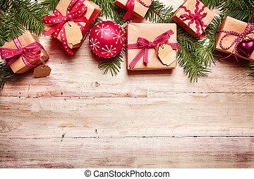 över, ved, gräns, jul, festlig