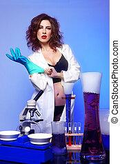 överdrivet, vetenskap, student, in, sexig, beklädnad,...