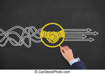 överenskommelse, lösning, begreppen, på, chalkboard, bakgrund