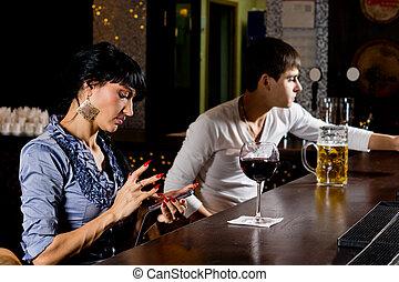 överföring, kvinna, hinder, sms, stilig, meddelande
