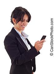 överföring, kvinna, meddelande, text