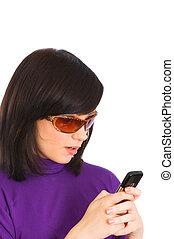 överföring, kvinna, sms, ung, upp slut