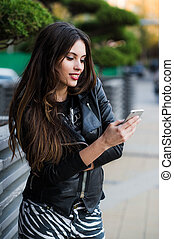 överföring, le womanen, sms, gata