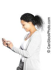 överföring, le womanen, sms