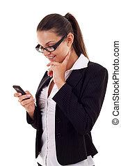 överföring, meddelande, womanaffär, text