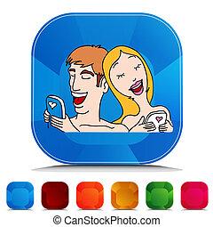 överföring, sätta, kärlek, text, par, meddelanden, gemstone, knapp