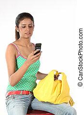 överföring, tonårig, sms, flicka