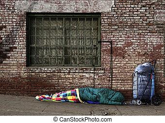 övergående, hemlös, själ, sova, gatorna