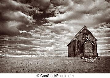 övergiven, öken, kyrka