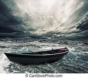 övergiven, båt, in, stormig sjögång