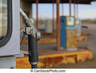 övergiven, drivmedel pumpa