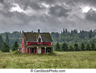 övergiven, gammal, röd, house.