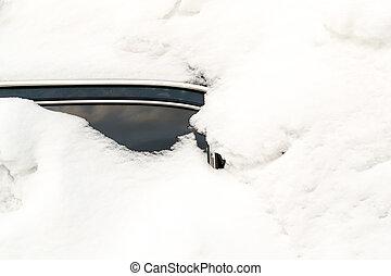 övergiven, häftig snöstorm, bil, snö, fasthängd, höjande, vinter
