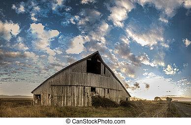 övergiven, ladugård, panorama, färg avbild