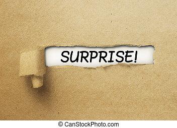 överraskning, bak, papper, rev, ringla