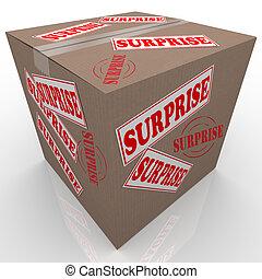 överraskning, boxas, shipped, papp, kolli